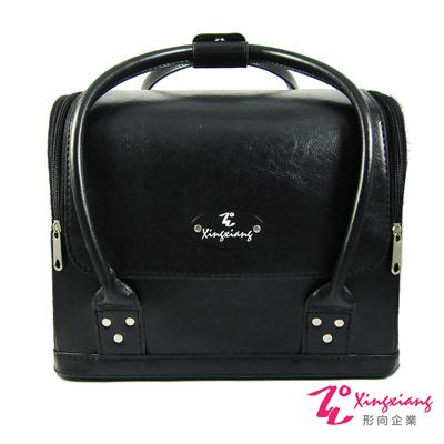 Xingxiang形向 黑色皮革素面手提肩背化妝箱  6 K- 12 - 1