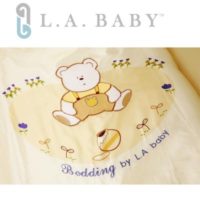 【美國 L.A. Baby】田園巴黎純棉七件式寢具組(M)(米黃色)