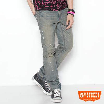 5th-STREET-多元樣貌-復古潑漆中直筒牛仔褲-男款-拔淺藍