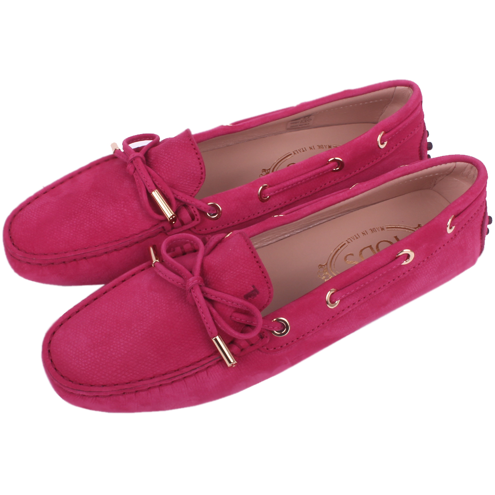 TOD'S Gommino 經典壓紋綁帶豆豆休閒鞋(桃紅色)