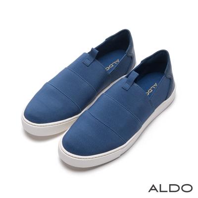 ALDO-玩色休閒原色幾何條紋刻痕厚底鞋-丹寧藍色