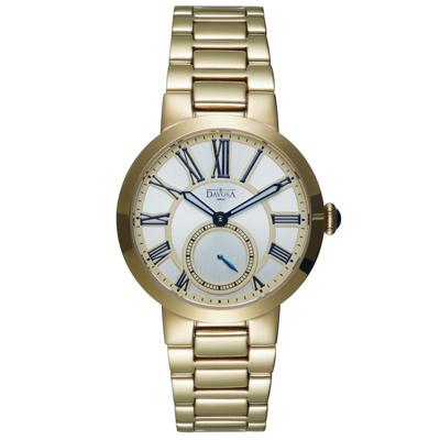 DAVOSA Calypso 小秒針時尚腕錶-金/ 銀白/35mm