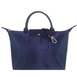 Longchamp Le pliage Neo 厚質尼龍布短帶水餃包/斜背包(藍色/中)