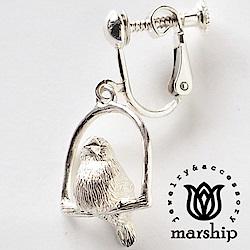 Marship 日本銀飾品牌 鞦韆上的文鳥耳環 925純銀 亮銀款 夾式耳環
