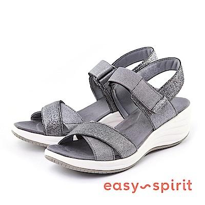 Easy Spirit--交叉帶魔鬼氈楔型涼鞋-星辰銀