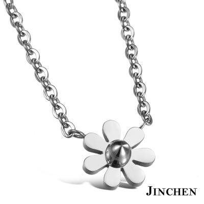 JINCHEN 白鋼花朵項鍊-銀色