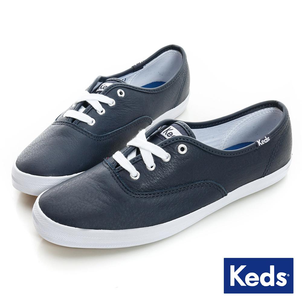 Keds 品牌經典皮質綁帶休閒鞋-海軍藍