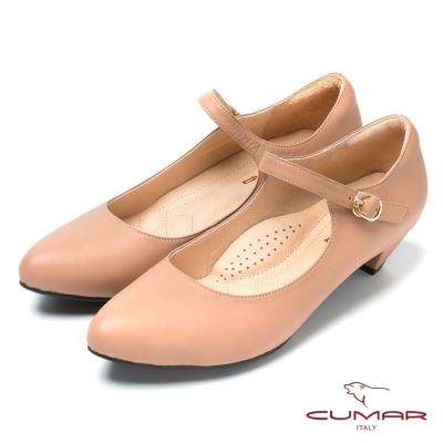 CUMAR台灣製造 柔軟真皮瑪莉珍鞋-粉紅色
