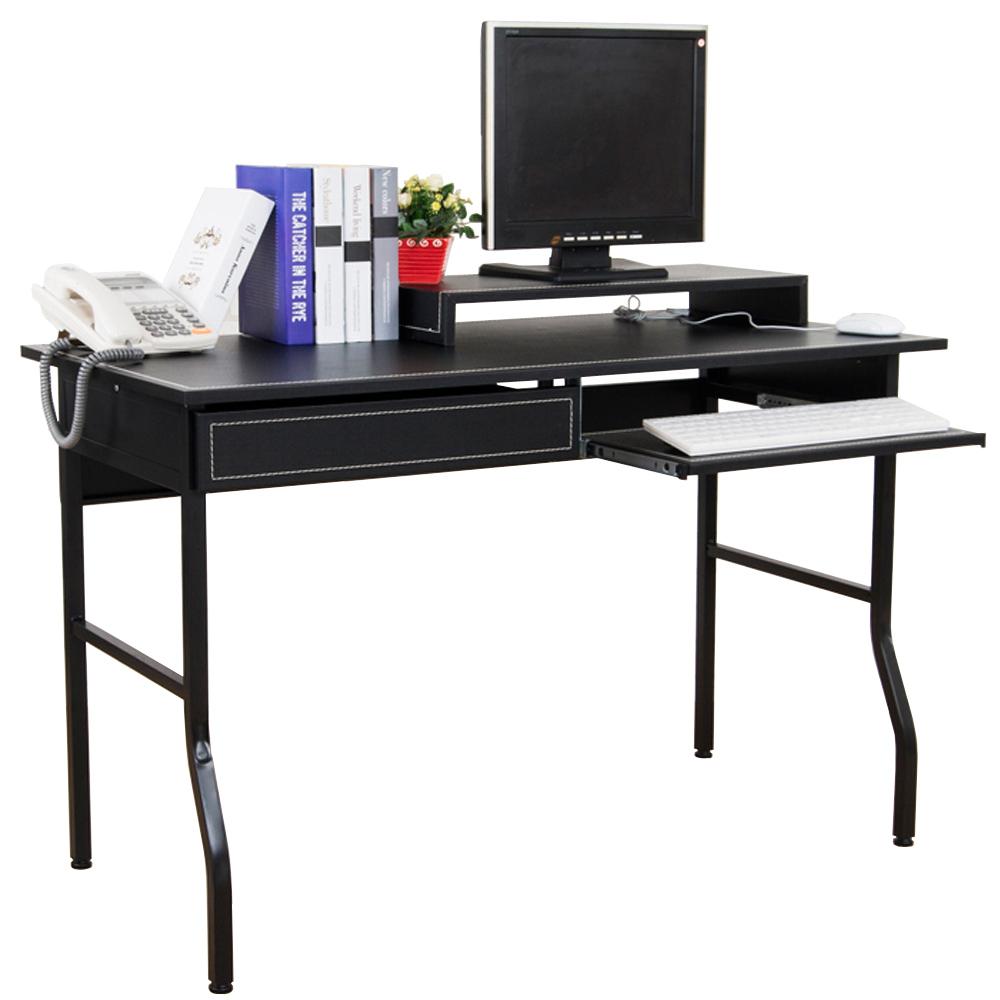 奧斯卡仿馬鞍皮面單抽單鍵電腦桌加螢幕架