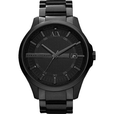 A│X Armani Exchange 雅痞時尚風格鋼帶腕錶-IP黑/46mm