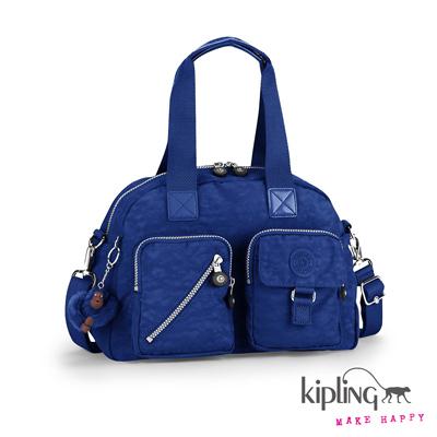 Kipling-時尚寶藍素面手提側背包