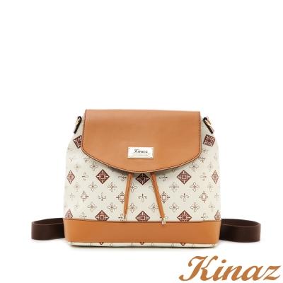 KINAZ-浪漫晴空兩用後背包-白糖卡布-迷人質感