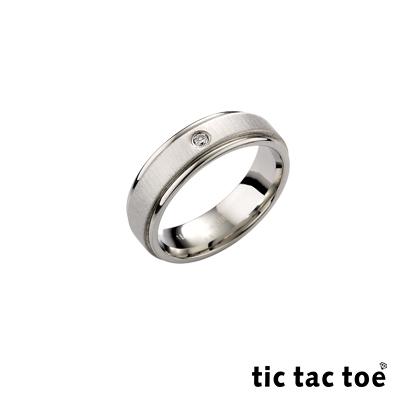 tic tac toe 真情白鋼男戒指