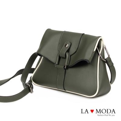 La Moda 潮流必備復古設計感肩背大釦環斜背包(墨綠)