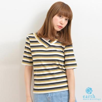 earth music  配色橫條紋特色V領合身上衣