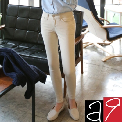 正韓 多色顯瘦超彈性窄管褲-(共二色)a9