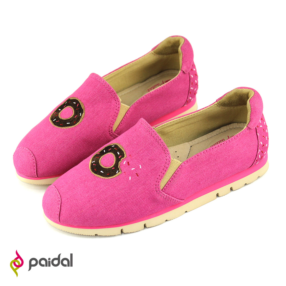 Paidal甜甜圈輕運動休閒鞋樂福鞋懶人鞋-桃紅
