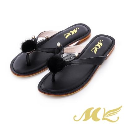 MK-夢幻森林-小兔子水鑽絨毛平底人字拖鞋-黑色