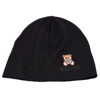 MOSCHINO 經典小熊玩偶圖案造型羊毛針織毛帽(黑色)