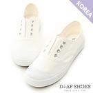 D+AF 活力自在.奶油頭無綁帶休閒帆布鞋*白