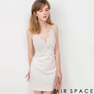 AIR-SPACE-睫毛蕾絲美背細繩包臀洋裝-白