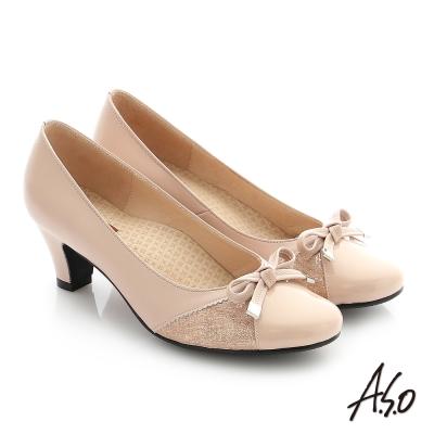 A.S.O 舒適通勤 全真皮蝴蝶結飾釦奈米中跟鞋 粉橘色