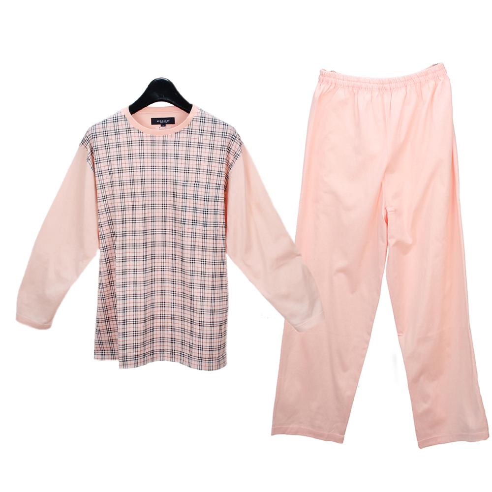 BURBERRY經典格紋純棉休閒家居服套組-粉色