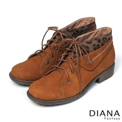 DIANA-粗曠男孩風-中性酷炫豹紋反摺真皮短靴-棕