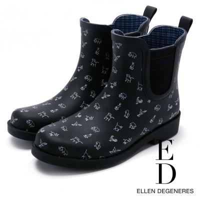 ED Ellen DeGeneres 俏皮防水橡膠中筒雨靴-黑色