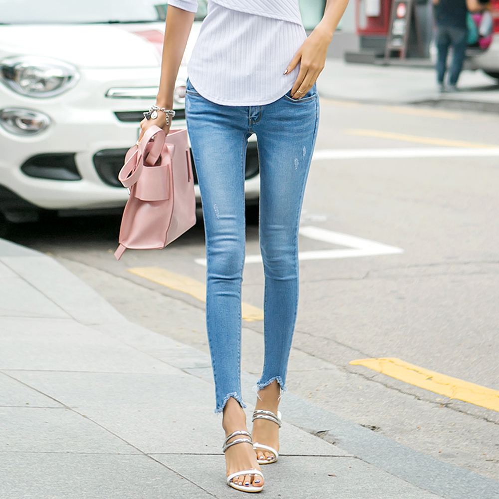 正韓 潮流不收邊漸層洗色牛仔褲 (藍色)-N.C21