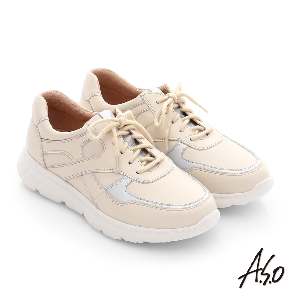 A.S.O 3D超動能 真皮綁帶戶外健走運動鞋 米色