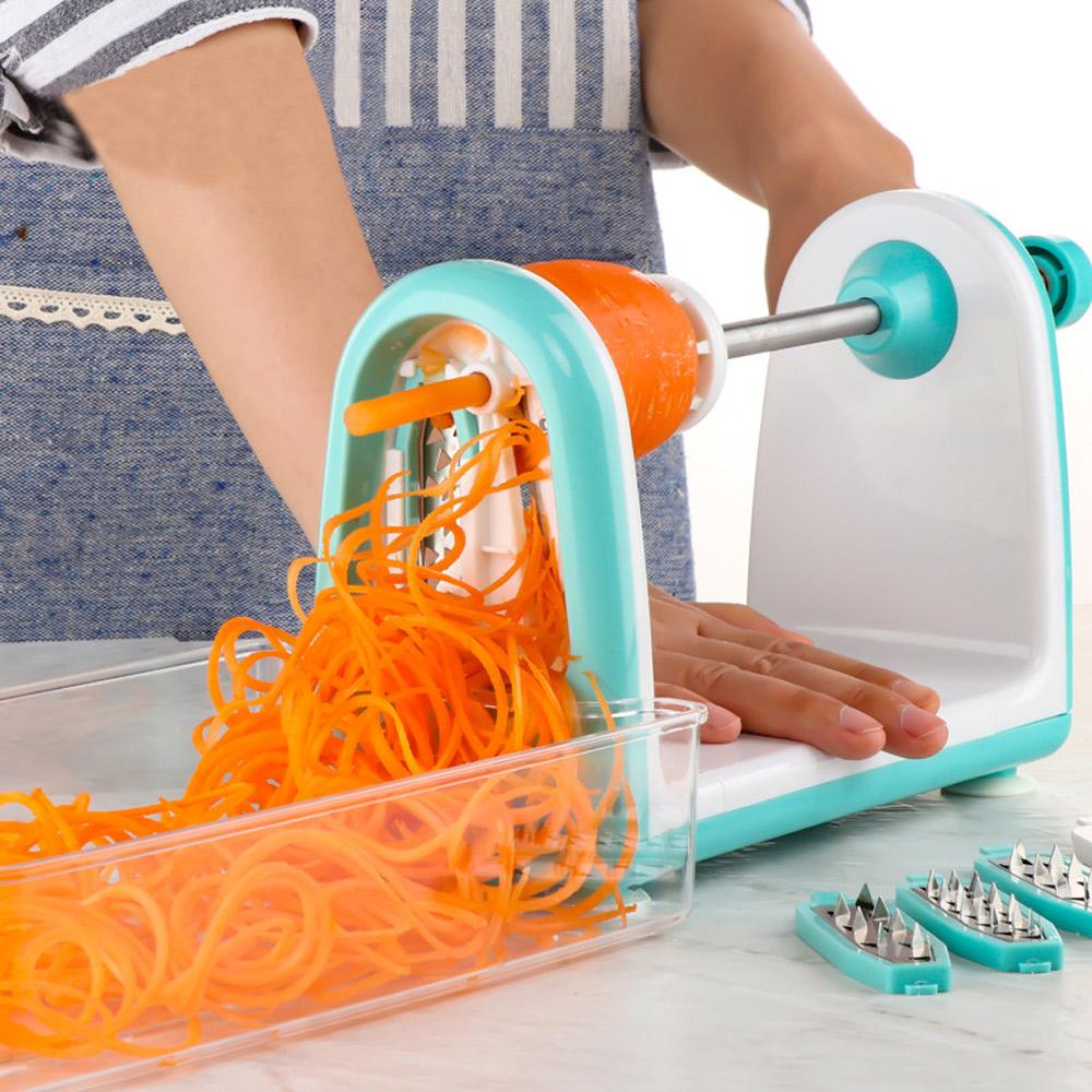 PUSH!廚房用品 防切手多功能可換刀片螺旋式刨絲器切絲切片切菜器 D103
