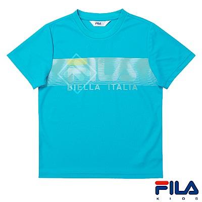 FILA KIDS 男童吸濕排汗上衣-藍綠1TES-4402-TG