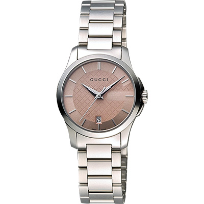 GUCCI G-Timeless 古馳菱格紋時尚腕錶-粉紅/27mm