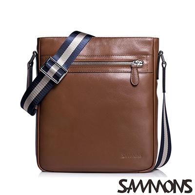 SAMMONS-真皮史考特經典斜背包-胡桃駝