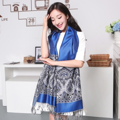 Seoul-Show波西風情-純棉編織圍巾-寶藍