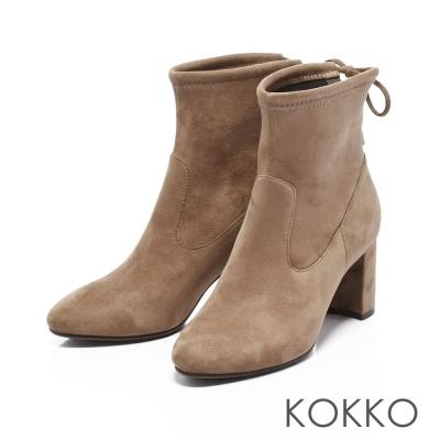 KOKKO- 冬日印象微尖頭粗跟後綁帶襪靴-摩卡棕