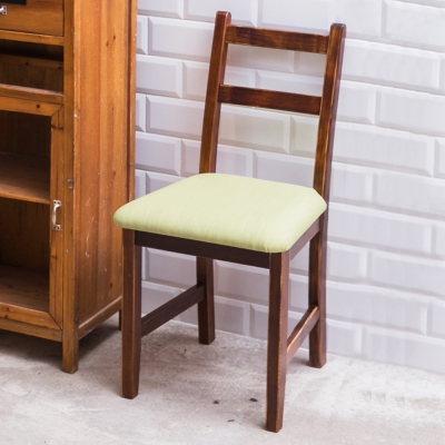CiS自然行實木家具- 北歐實木餐椅(焦糖色)抹茶綠椅墊