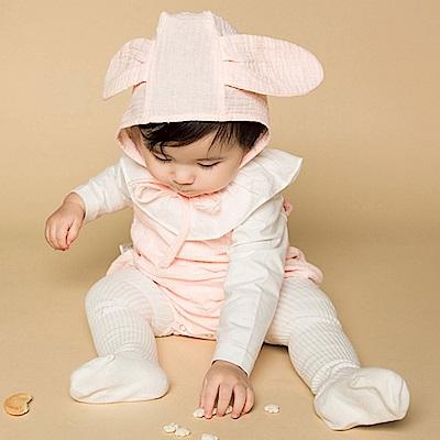 Baby unicorn 粉白吊帶褲嬰兒帽套裝3件組
