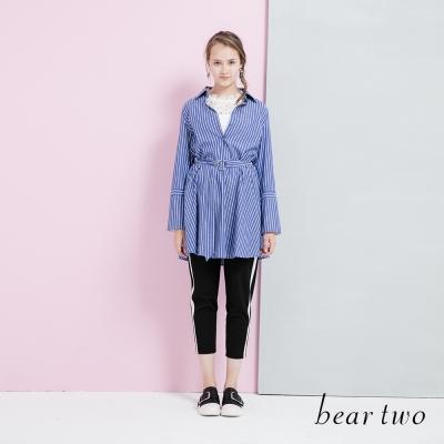 beartwo 網路獨家-直紋修身金屬扣環腰帶造型洋裝(藍白條紋)