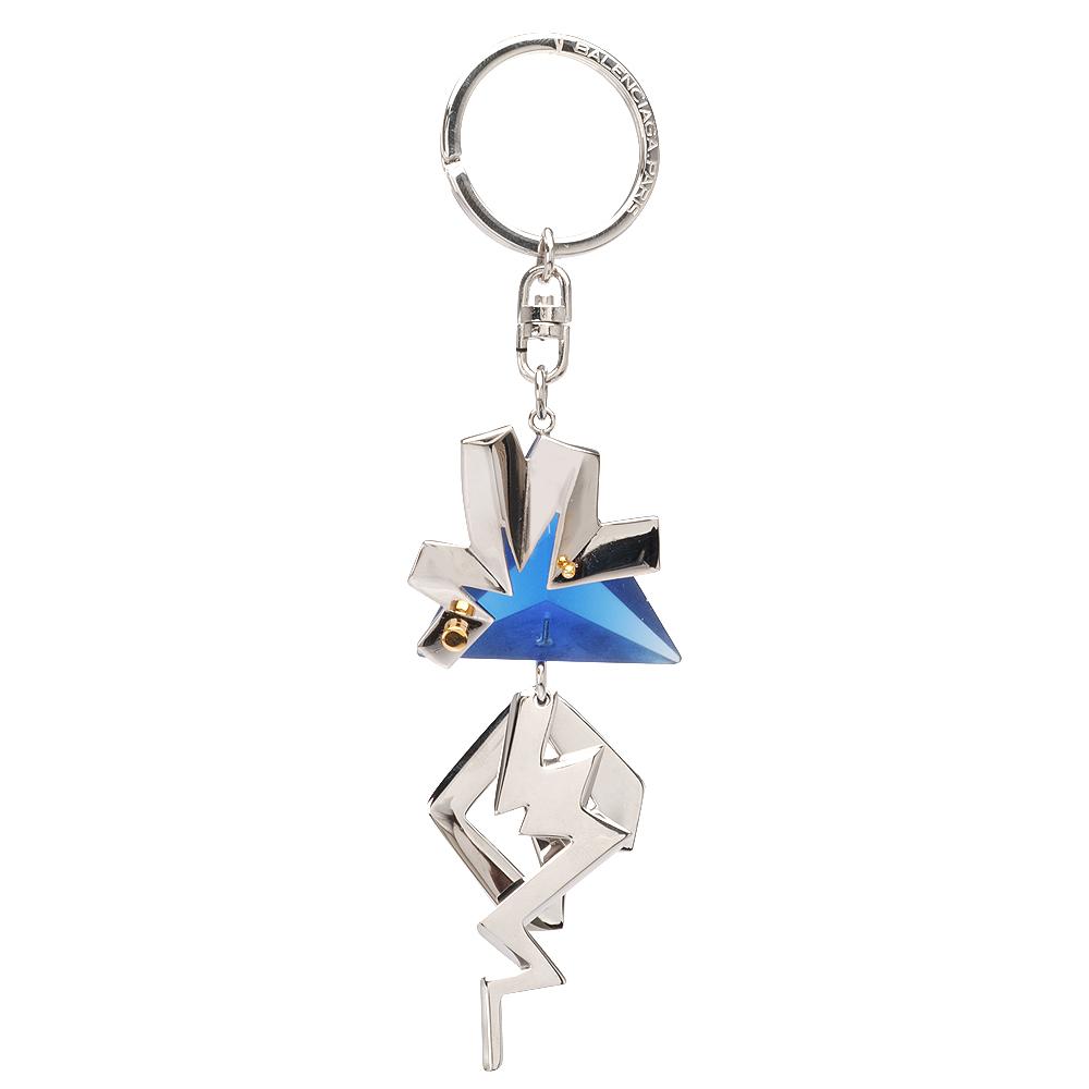 BALENCIAGA 巴黎世家三角壓克力X金屬閃電鑰匙圈吊飾(藍)