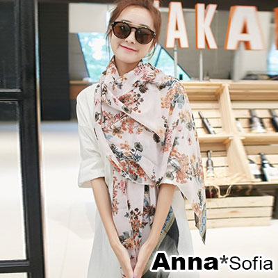 AnnaSofia 清嵐錦花 拷克邊韓國棉圍巾披肩(粉系)