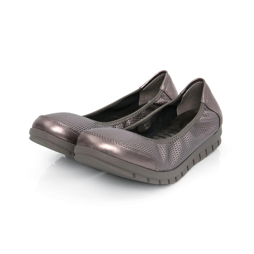 TAS 素面柔軟牛皮平底鞋-質感灰