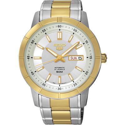 SEIKO 精工5號盾牌日曆機械錶(SNKN58J1)-雙色版/43mm