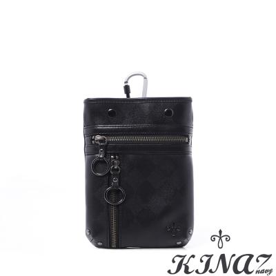 KINAZ-navy-隱形菱格-低調風格多用包