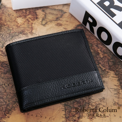 Roberta Colum - 雅痞時尚系牛皮款可拆式左右翻 12 卡 2 照短夾-黑