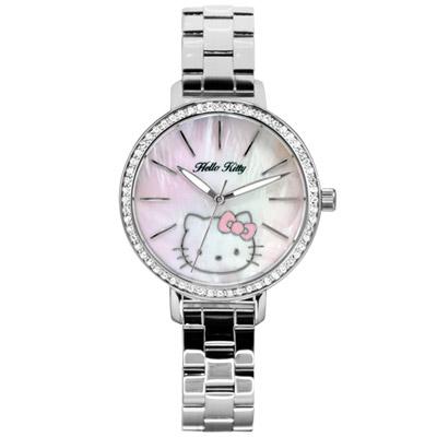 Hello Kitty  邂逅浪漫俏麗時尚晶鑽腕錶-銀/34mm