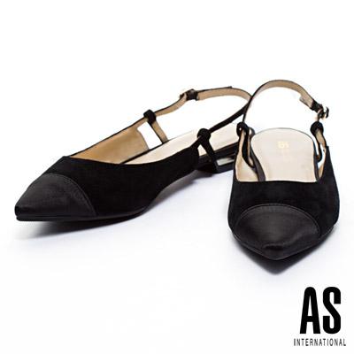 跟鞋 AS 優雅異材質後跟鏤空麂皮尖頭低跟鞋-黑