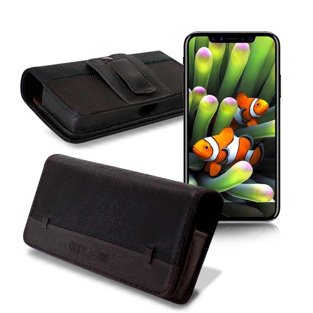 CB iPhone 8 Plus / iPhone X 品味柔紋橫式腰掛皮套