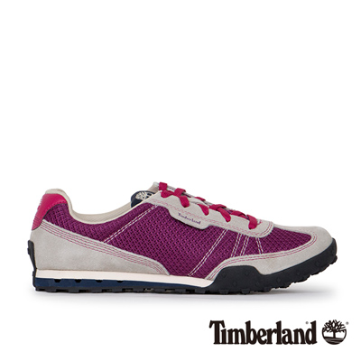 Timberland-女款紫紅色運動綁帶雙色休閒鞋